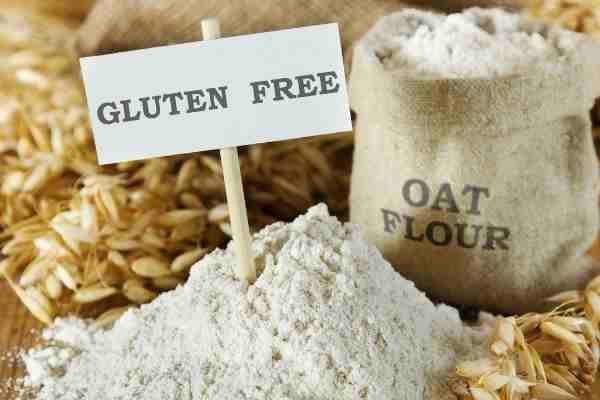 picture of oat flour with banner reading gluten free